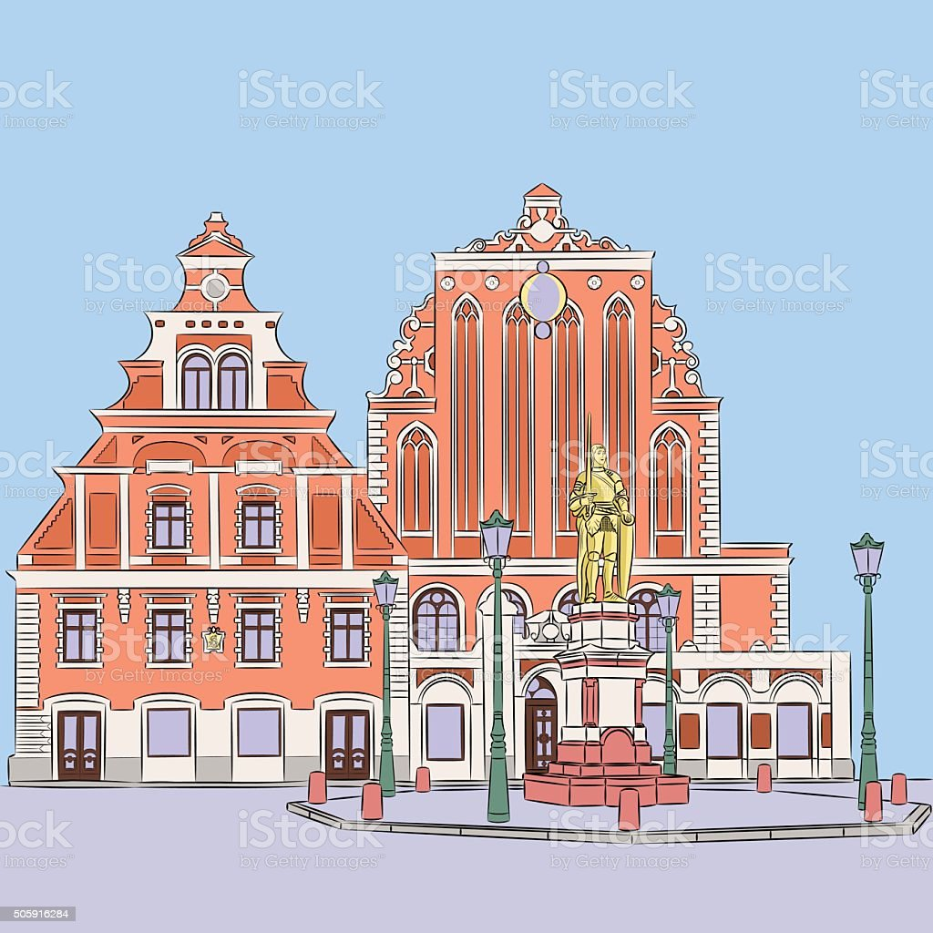 Vector. Riga. Town Hall Square. vector art illustration
