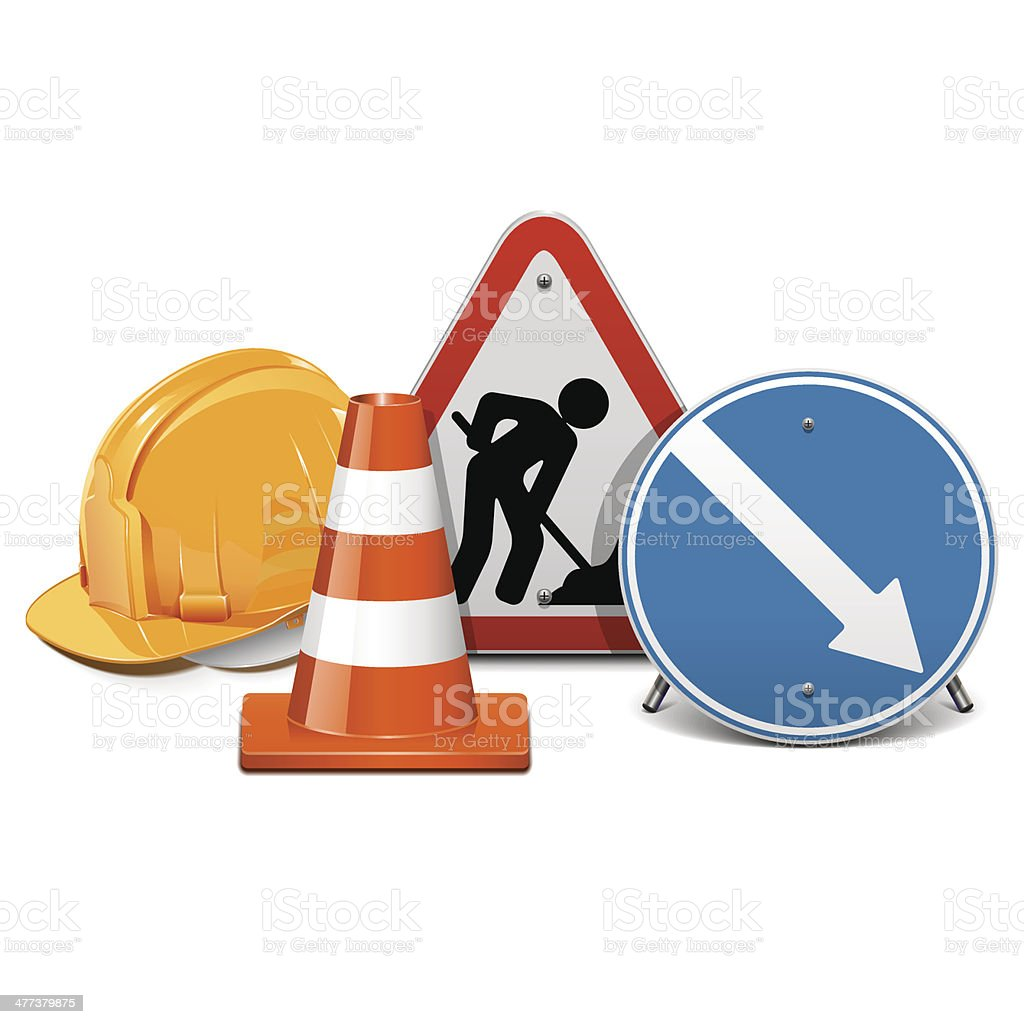 Vector Road Construction Concept vector art illustration