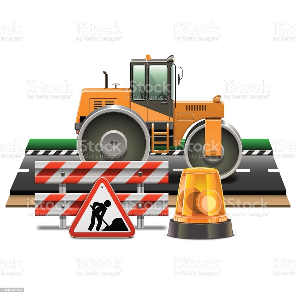 Vector Road Construction with Road Roller royalty-free stock vector art