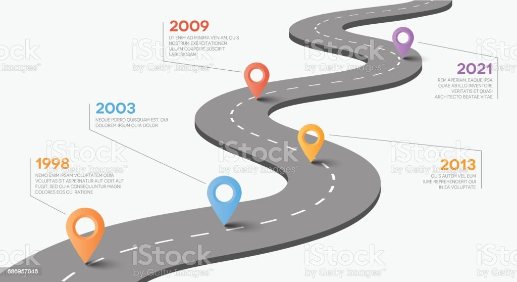 Vector road with pointers. Timeline concept. vector art illustration