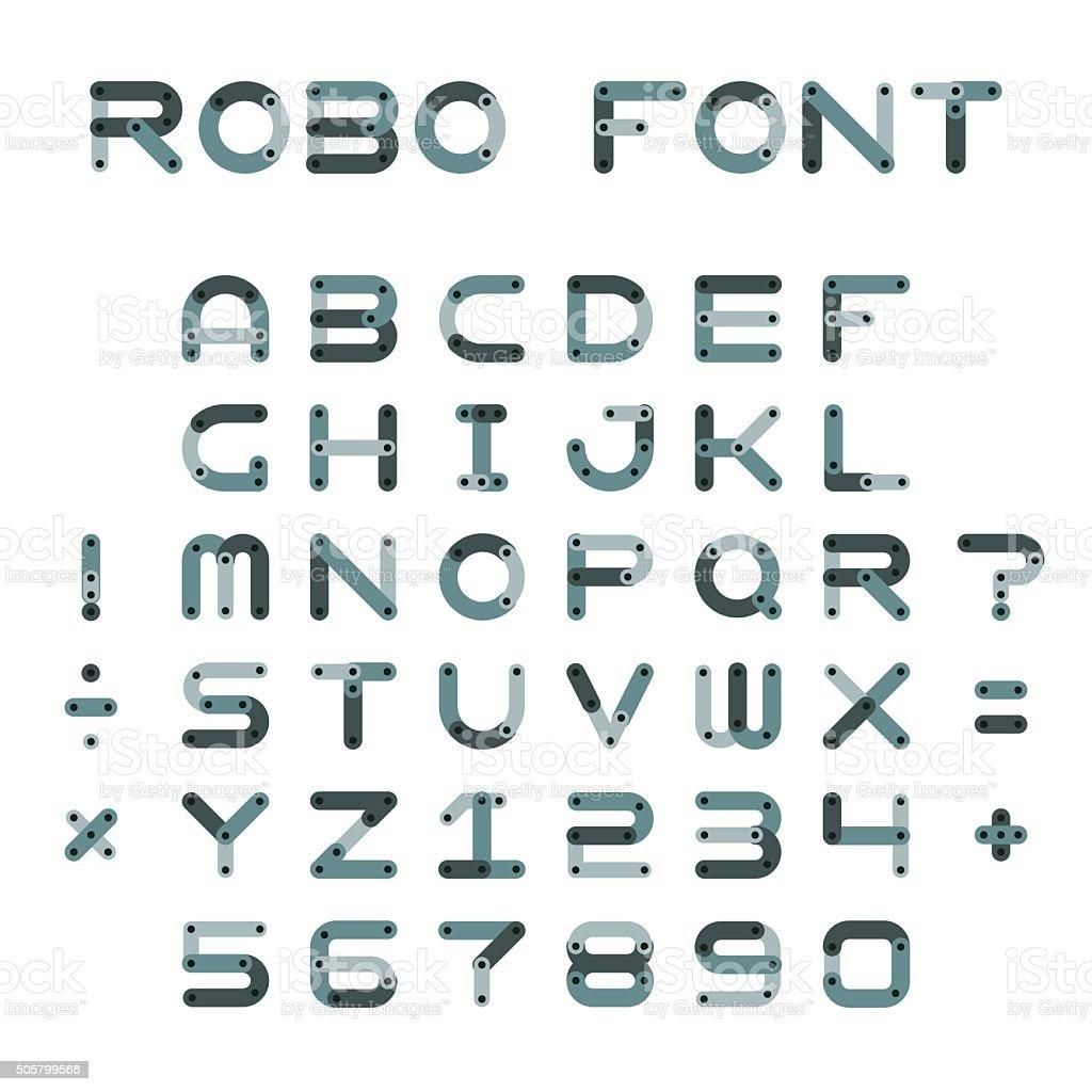Vector robotic or mechanic font in flat style vector art illustration