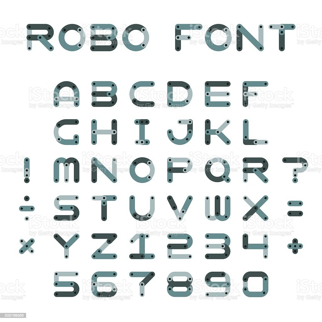 Vector robotic or mechanic font in flat style vector art illustration
