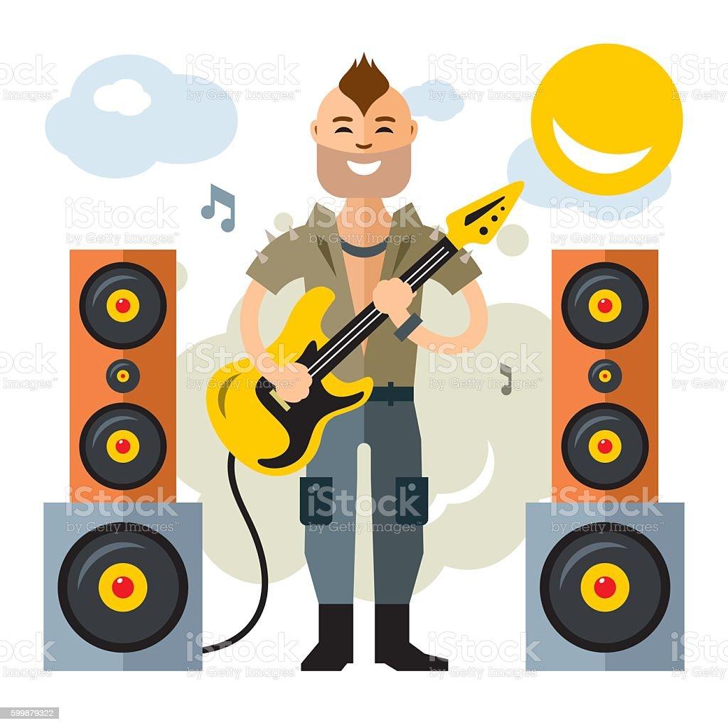 Vector Rock Guitarist. Flat style colorful Cartoon illustration. vector art illustration