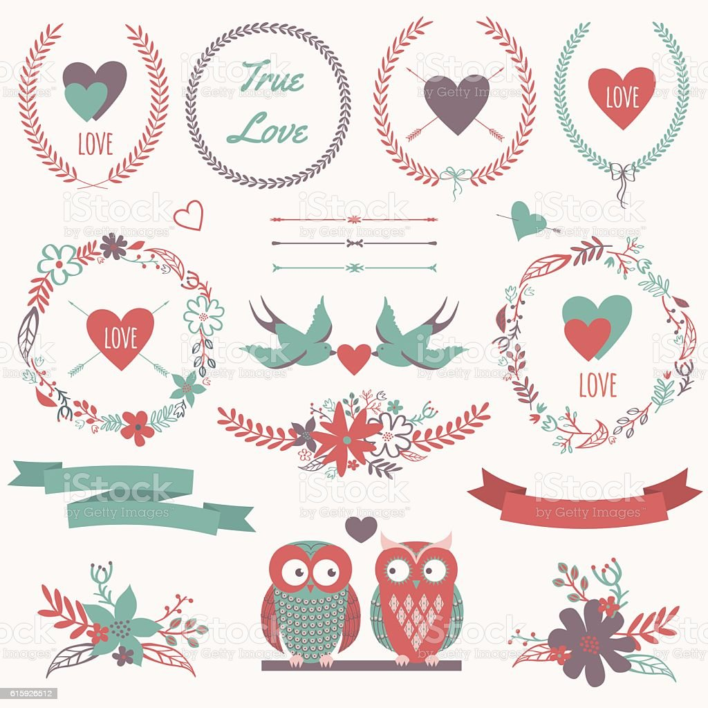 Vector romantic set with bouquets, birds, hearts, ribbons, wreaths, flowers vector art illustration