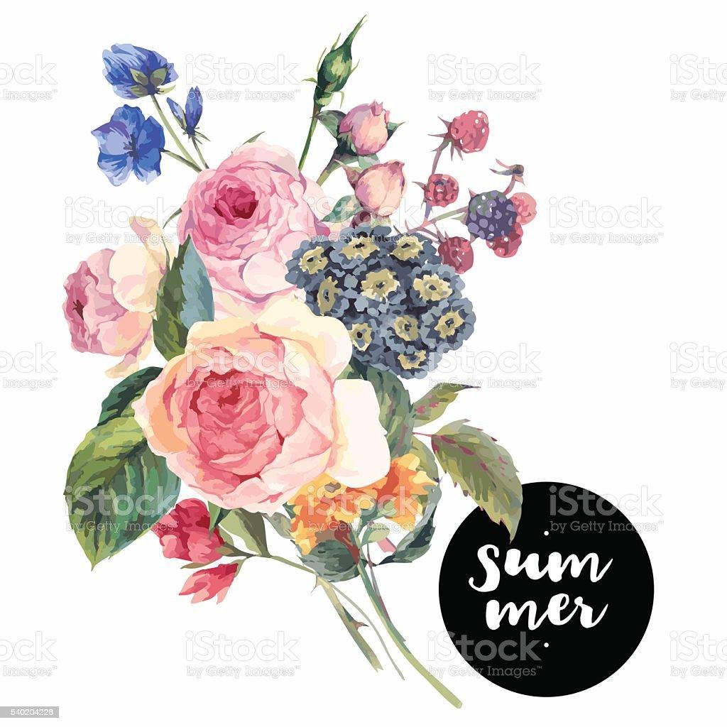 Vector roses vintage floral greeting card vector art illustration