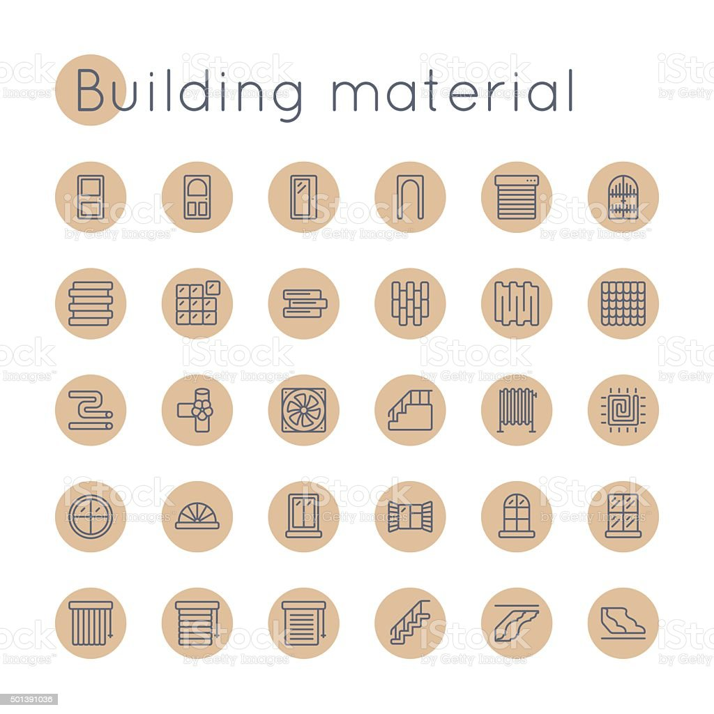 Vector Round Building Material Icons vector art illustration