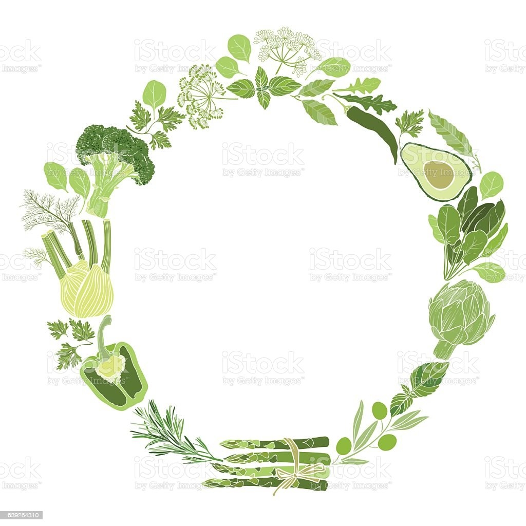 Vector round frame with green vegetables, spices and culinary herbs. vector art illustration