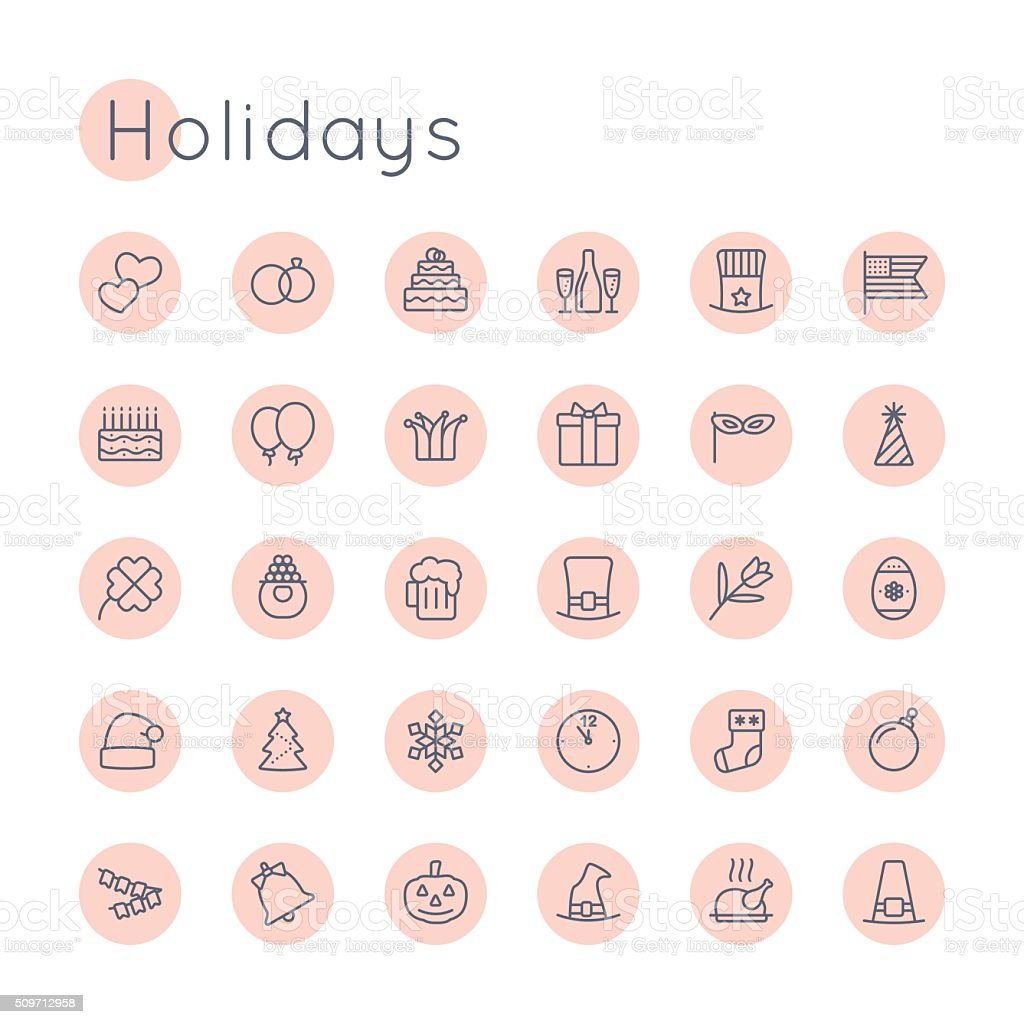Vector Round Holidays Icons vector art illustration