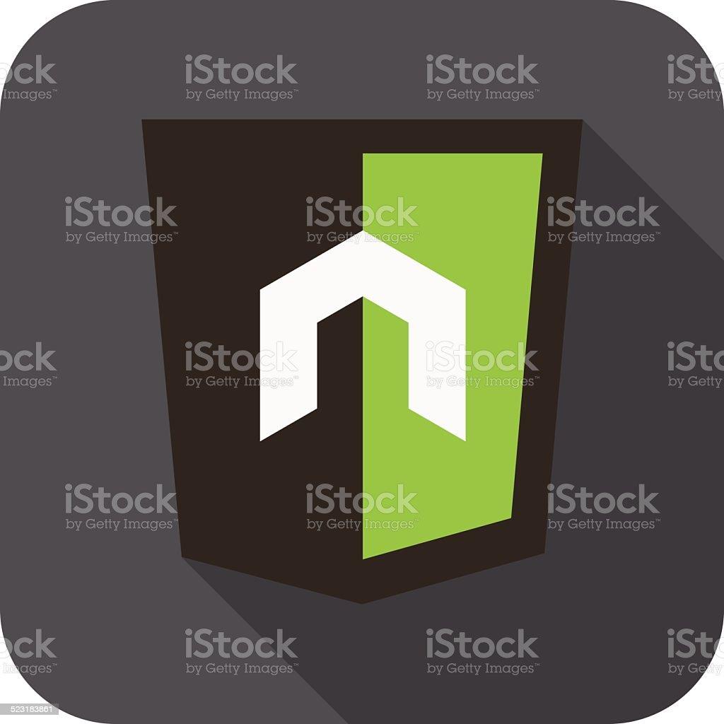 Vektorrunde Symbol N Buchstaben Für Node Js Rahmen Vektor ...