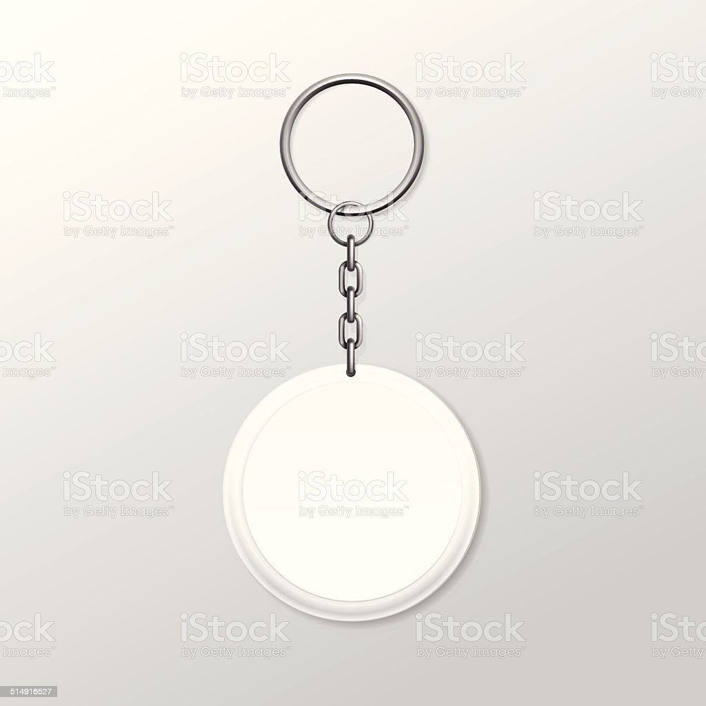 Vector Round Keychain with Ring and Chain Isolated on White vector art illustration