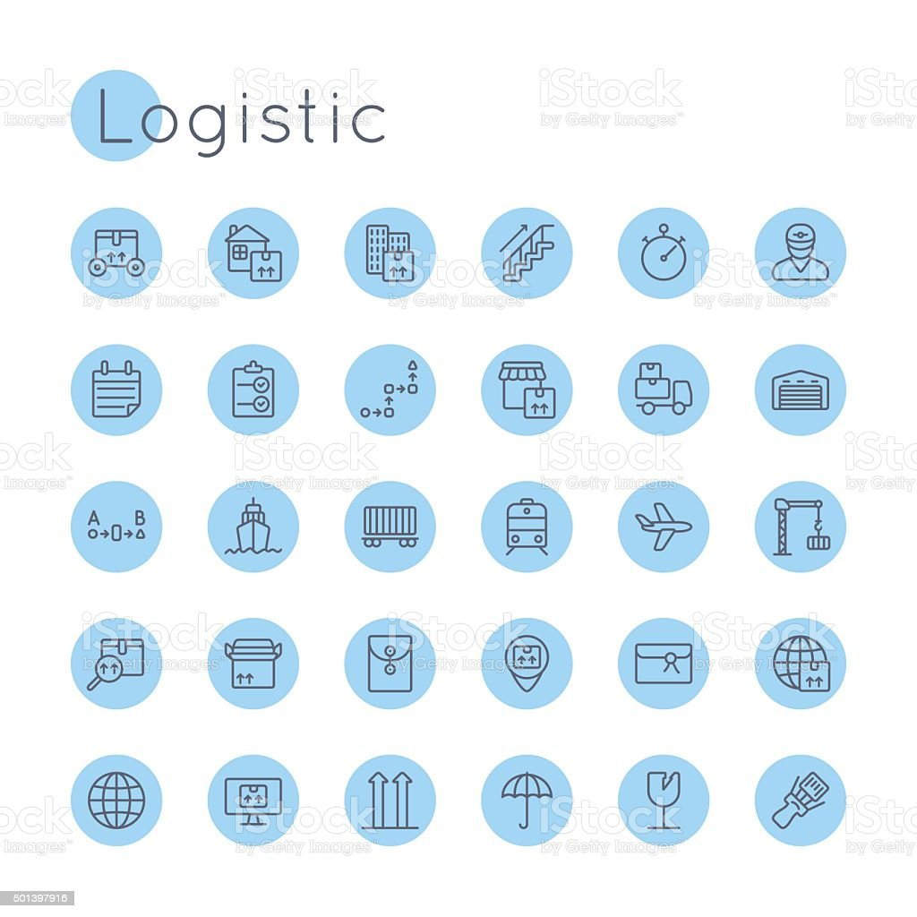 Vector Round Logistic Icons vector art illustration