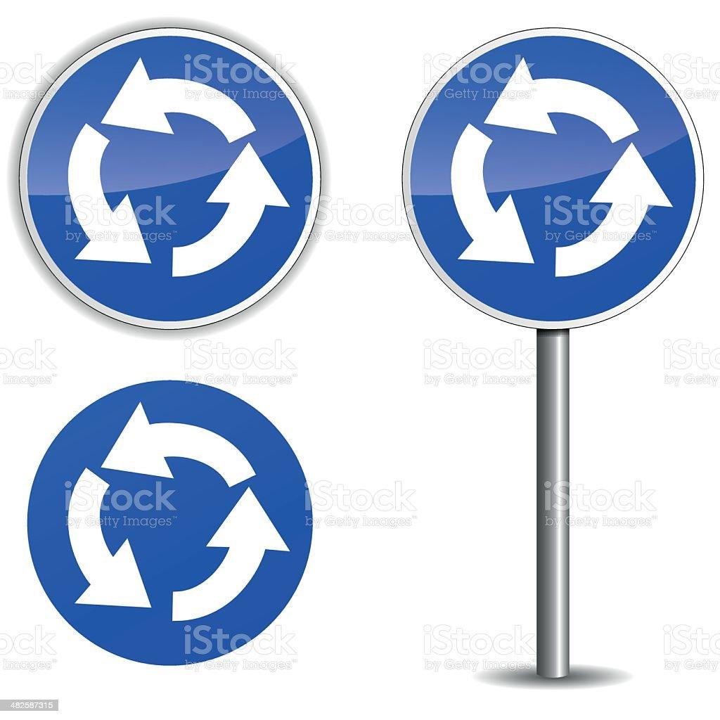 Vector roundabout blue signpost vector art illustration