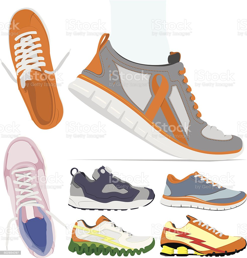 Vector running shoes collection vector art illustration