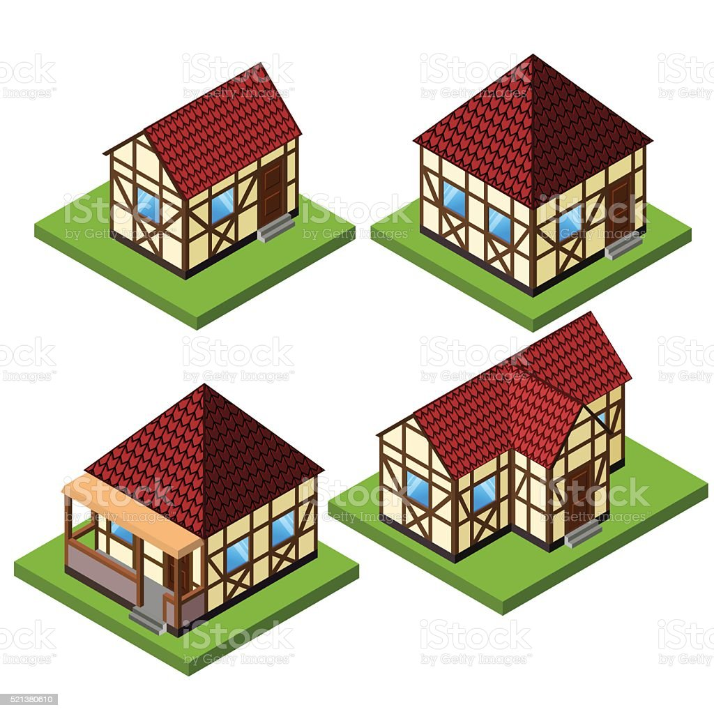 Vector rural isometric house collection in timber framing style. vector art illustration