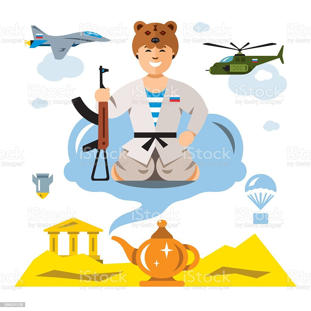 Vector Russian Army in the desert. Flat style colorful Comic vector art illustration