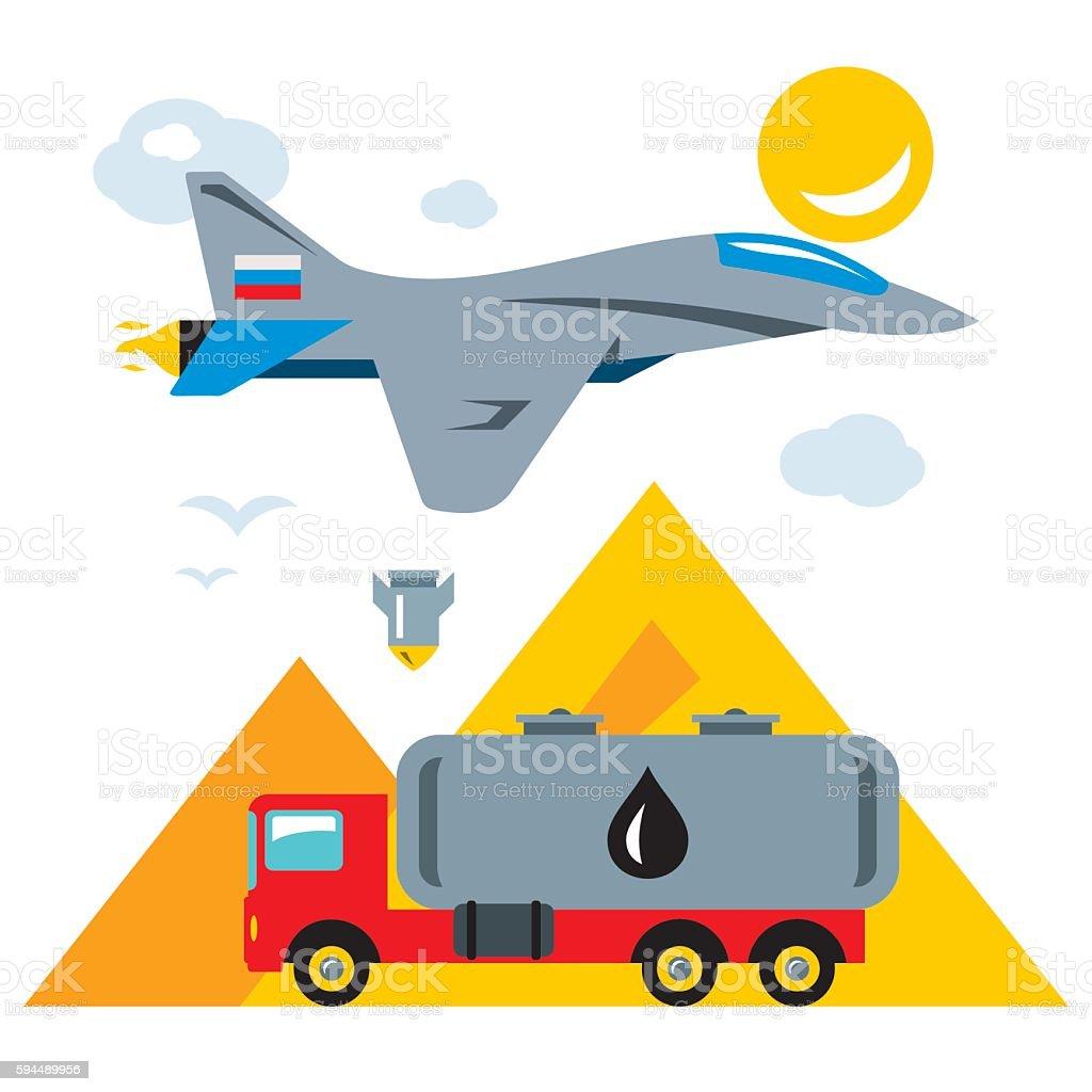 Vector Russian aviation in Syria Abstract Concept. Bombing of trucks vector art illustration