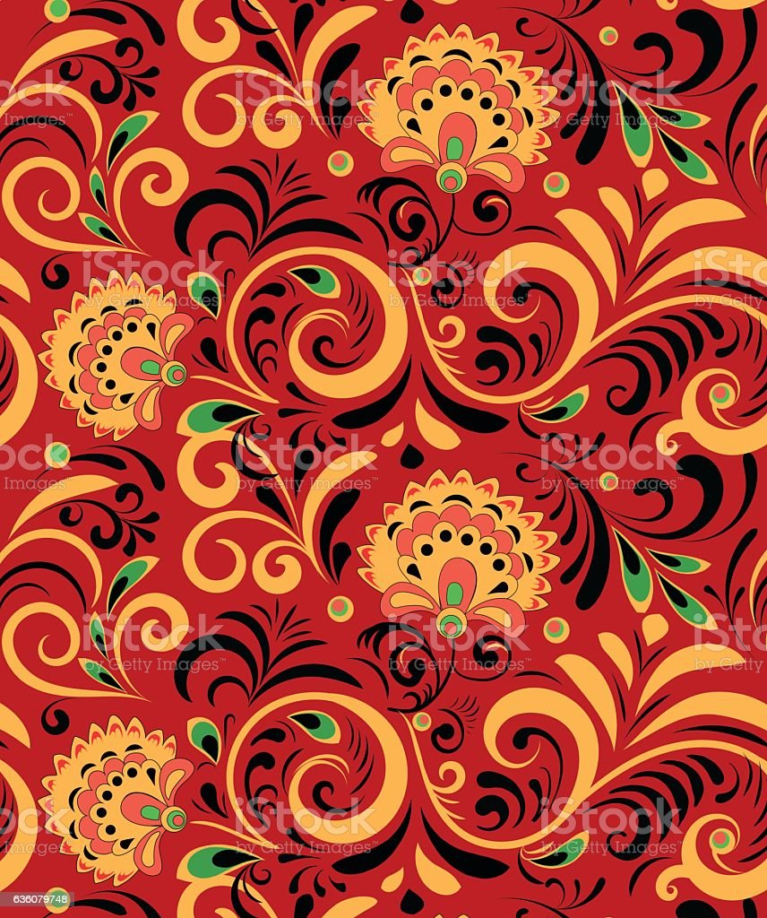 Vector Russian Ethnic ornament .Khokhloma seamless pattern in national style vector art illustration