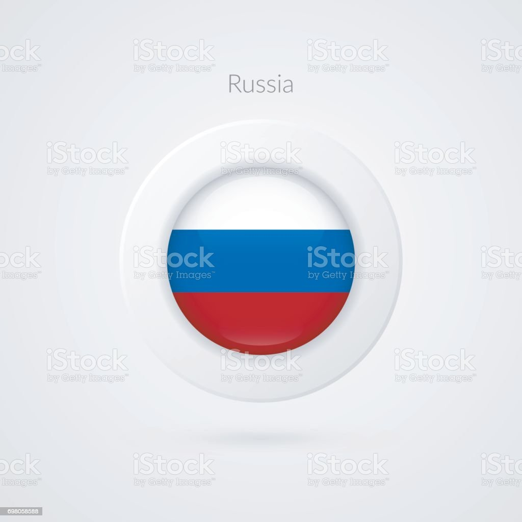 Vector Russian Federation flag sign. Isolated Russia circle symbol. Eastern Europe country illustration icon for presentation, advertisement, sport event, travel, concept, web design, badge vector art illustration