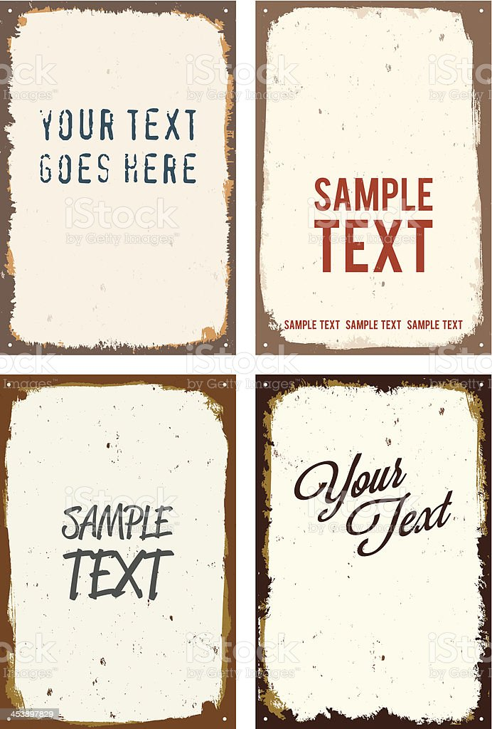 vector rusty metal sign templates vector art illustration