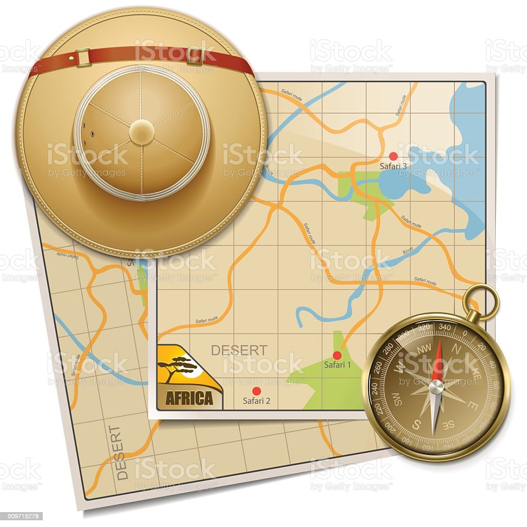 Vector Safari Map with Hat vector art illustration