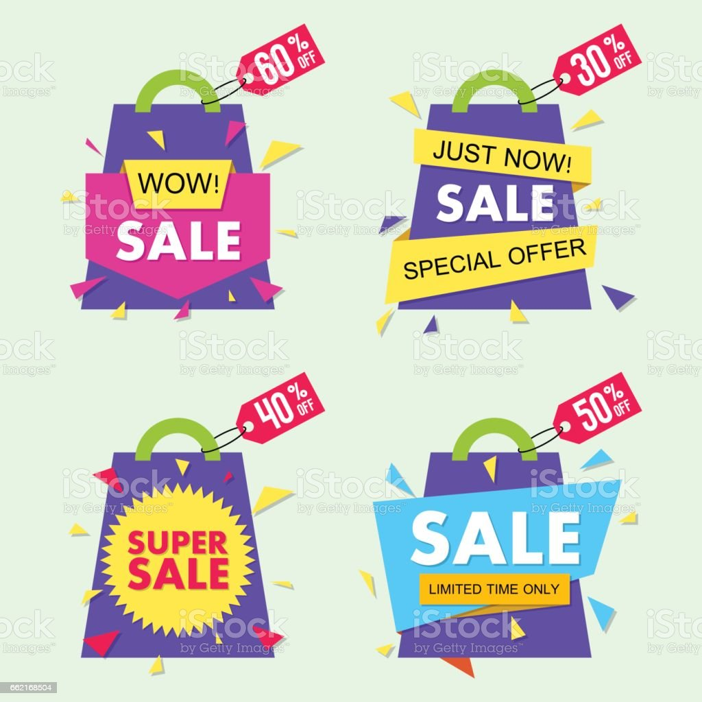 Vector sale banner set in material design style. EPS10 vector art illustration