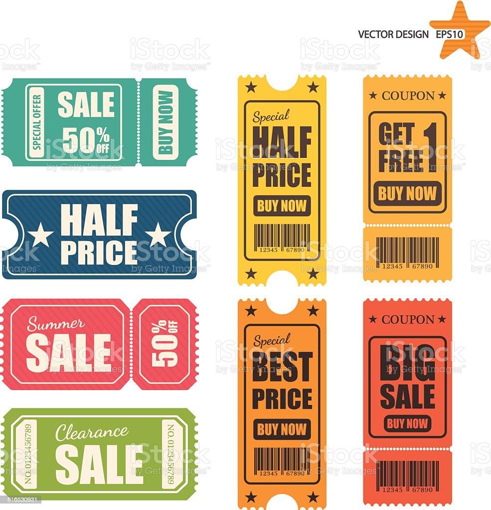 Vector sale tickets. vector art illustration