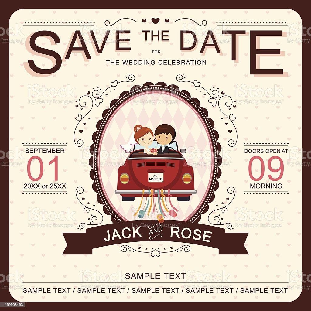 Vector 'Save the Date' wedding invitation template vector art illustration