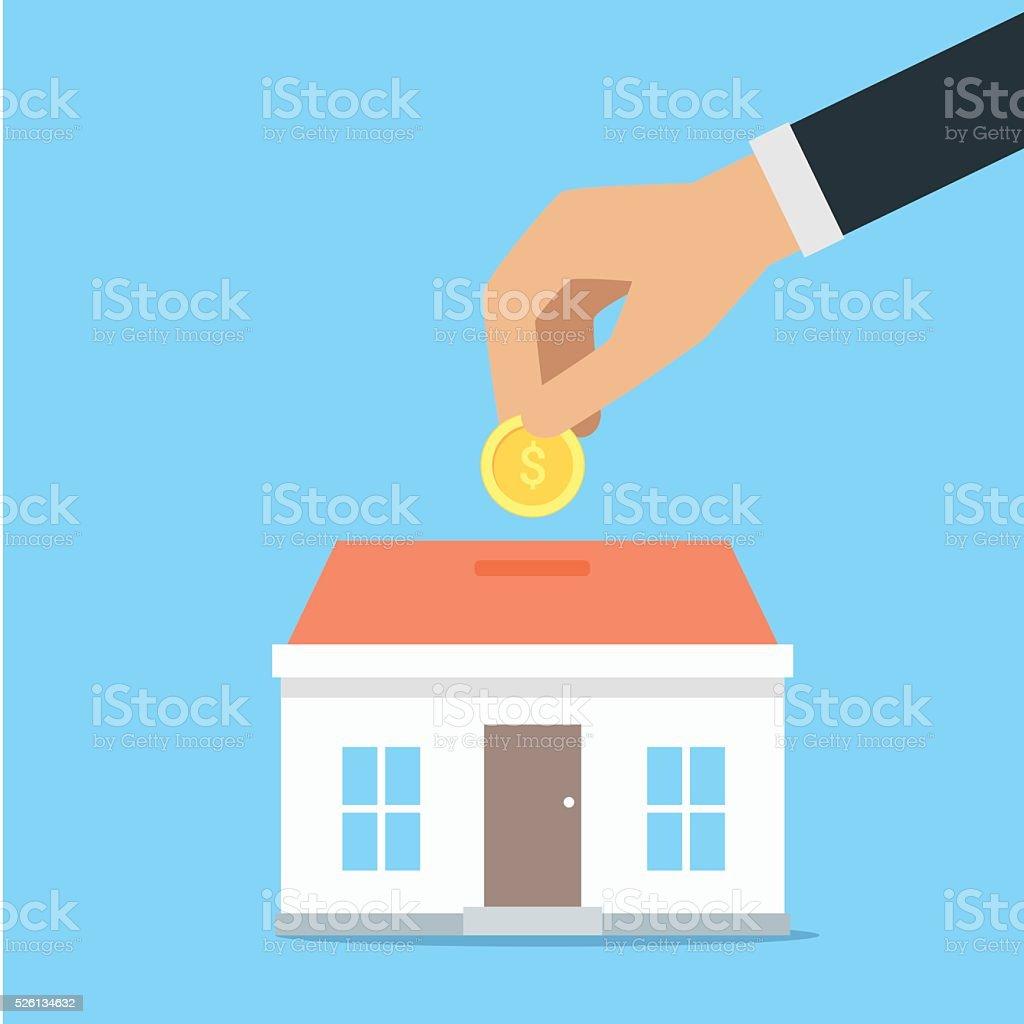 Vector saving money concept,save money for buy home vector art illustration