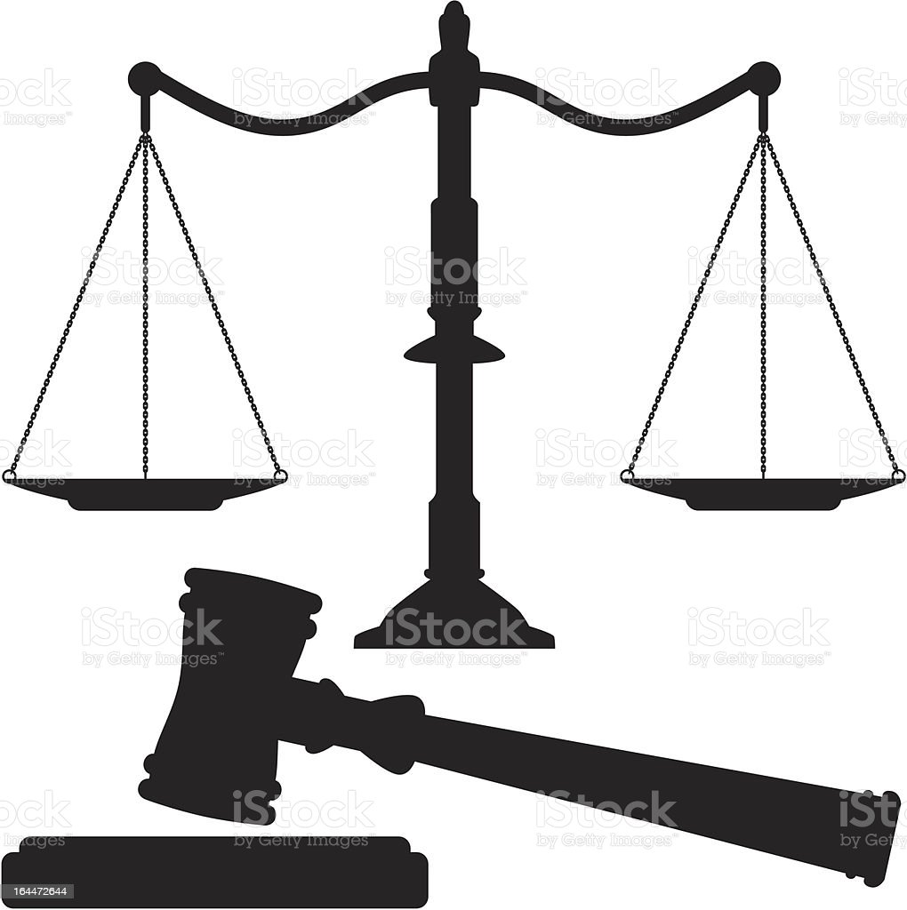 vector scales of justice and gavel vector art illustration