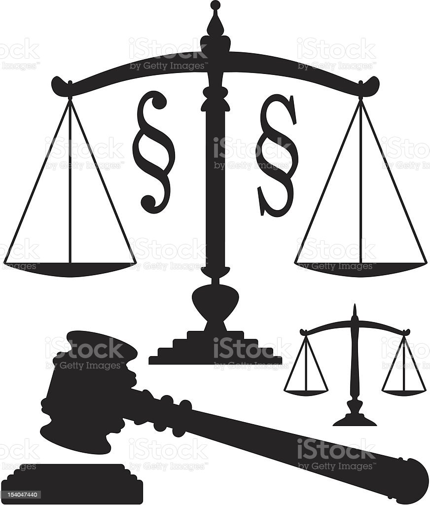 vector scales of justice, gavel and paragraph symbols royalty-free stock vector art