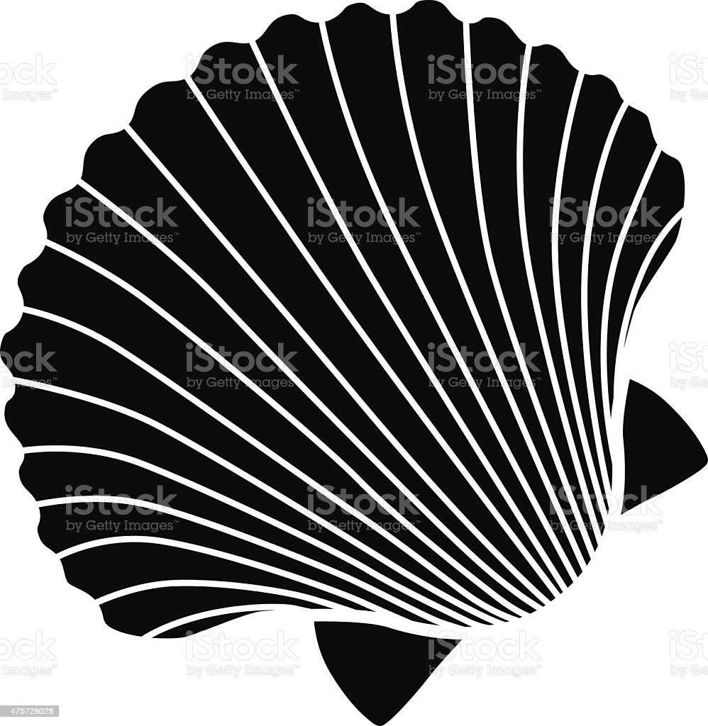 vector scallop shell icon stencil in black and white vector art illustration