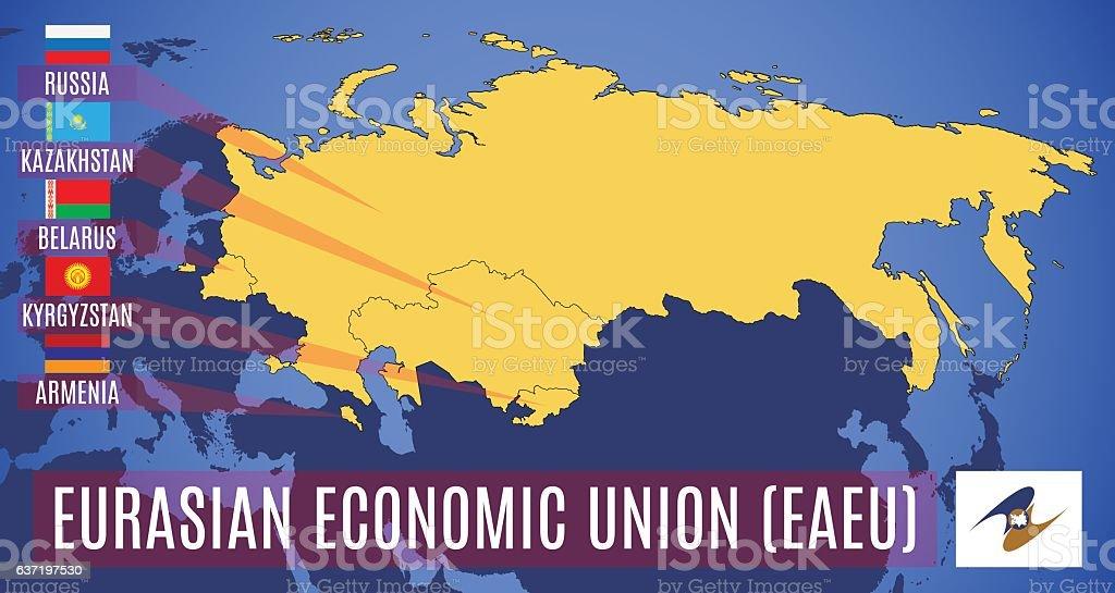 Vector. Schematic map of the Eurasian Economic Union. vector art illustration