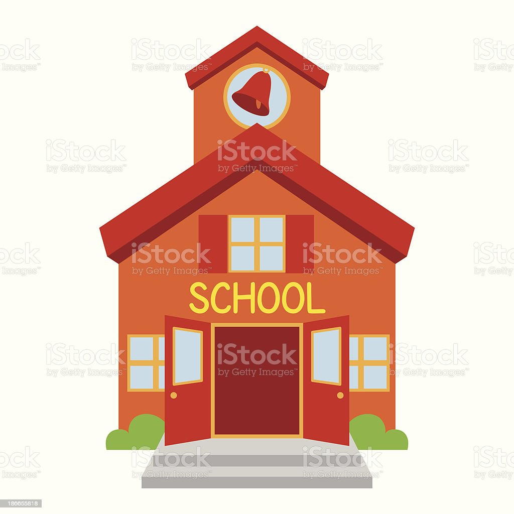 Vector School Building vector art illustration