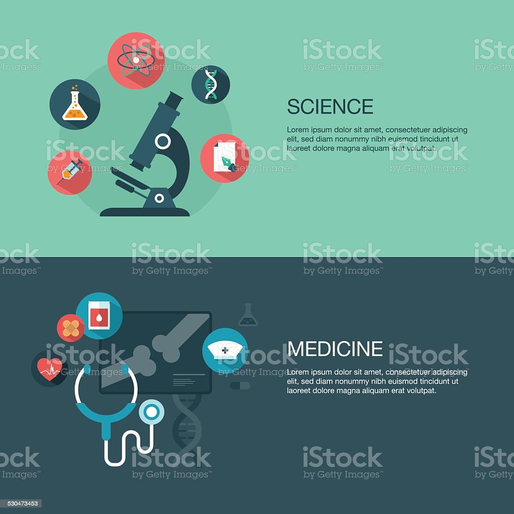 vector science and medicine banners vector art illustration