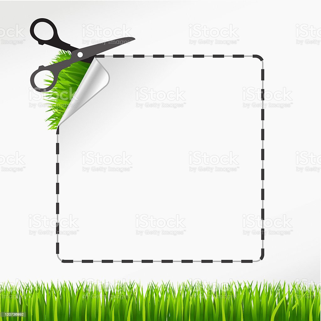 Vector scissors cut sticker. Green grass royalty-free stock vector art