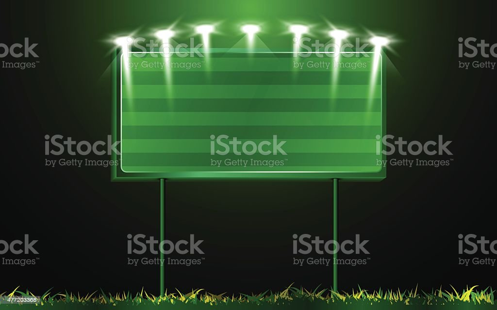 vector scoreboard and grass background vector art illustration