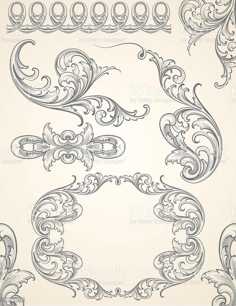 Vector Scroll Element Set royalty-free stock vector art