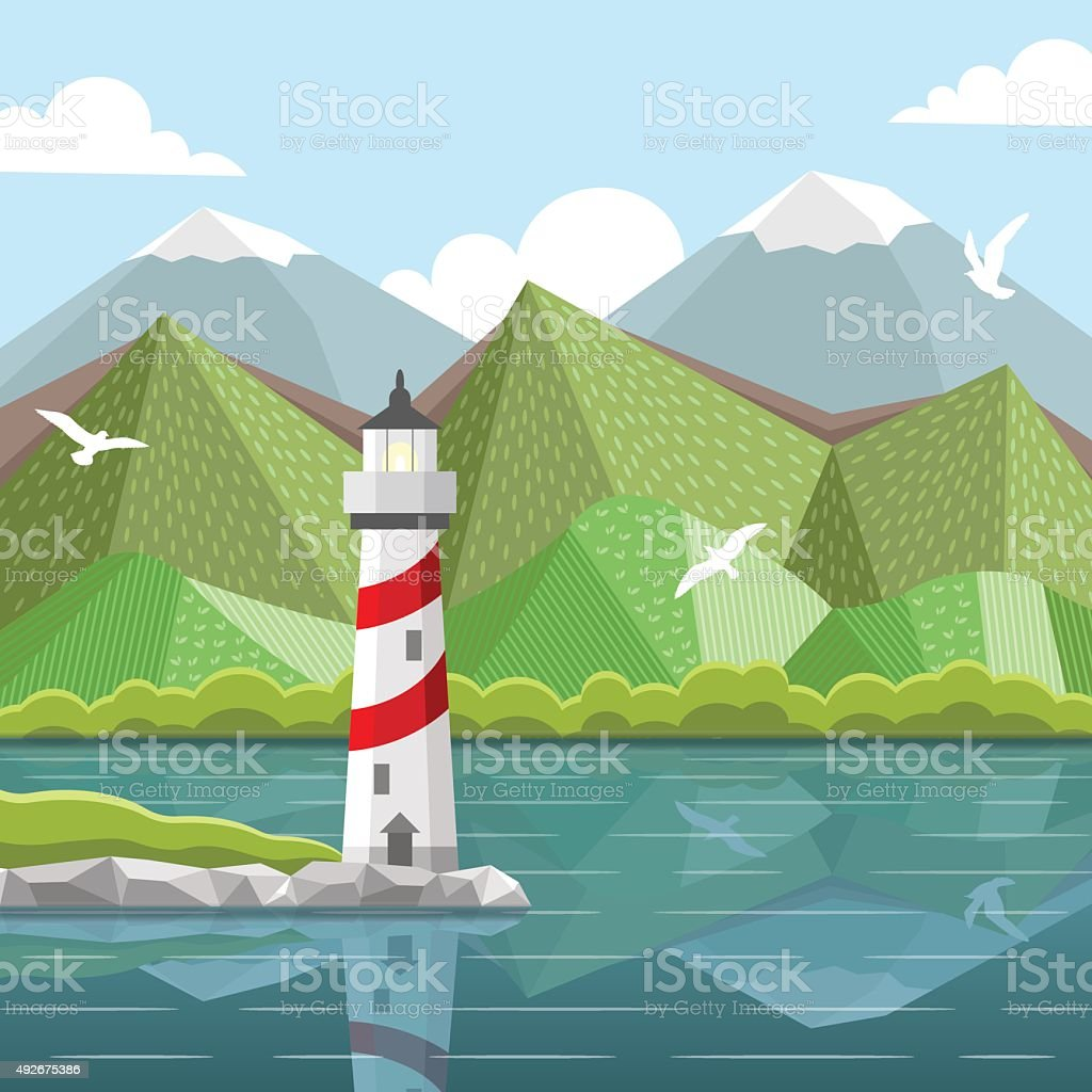 Vector sea landscape with lighthouse vector art illustration