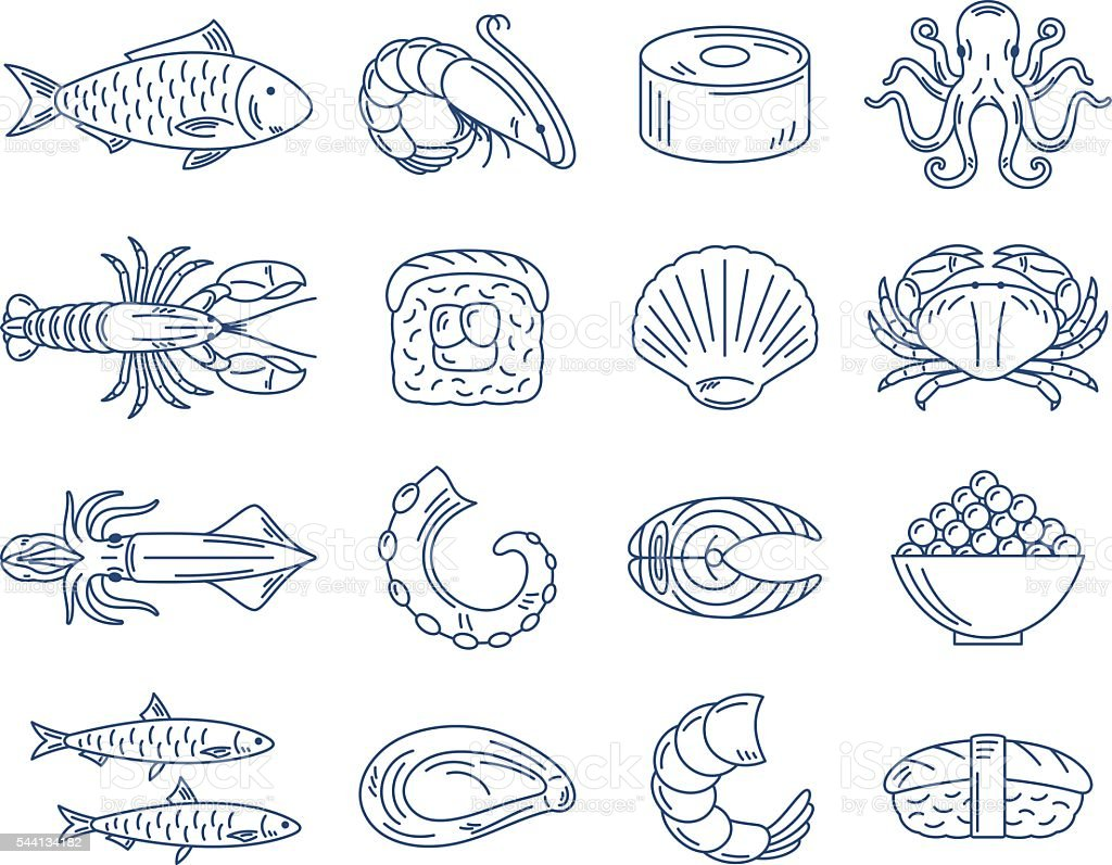 Vector seafood and sushi blue icons collection vector art illustration