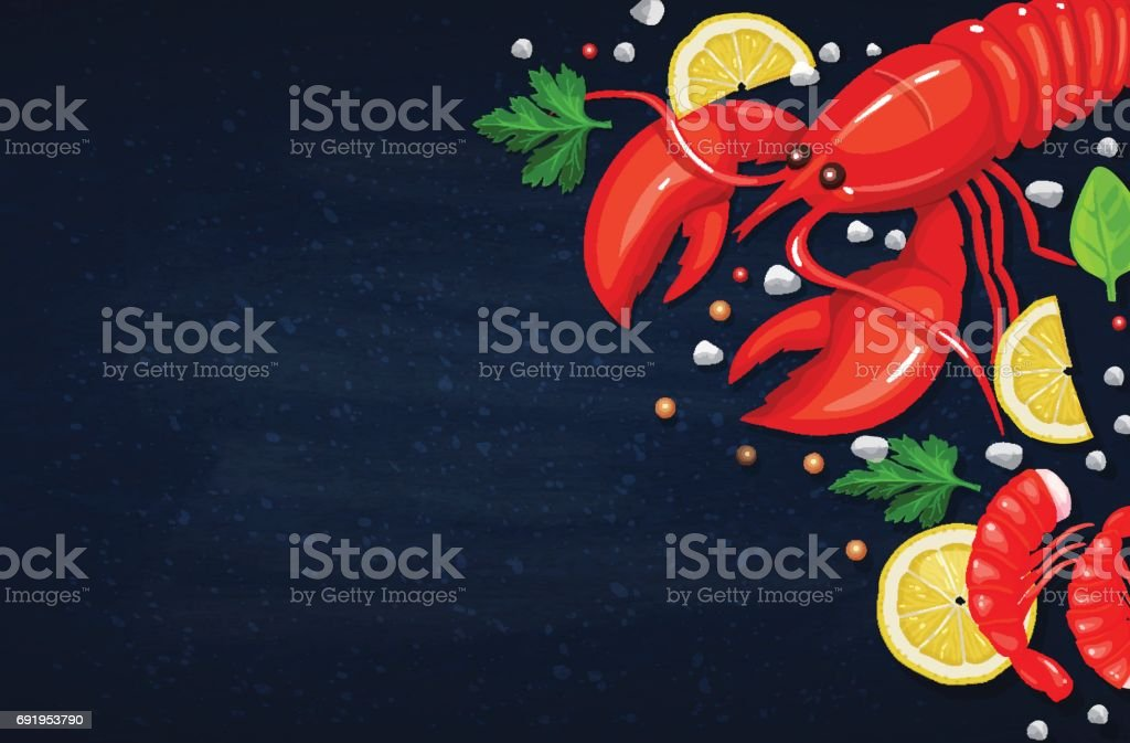 Vector seafood. Healthy food cooking concept vector art illustration