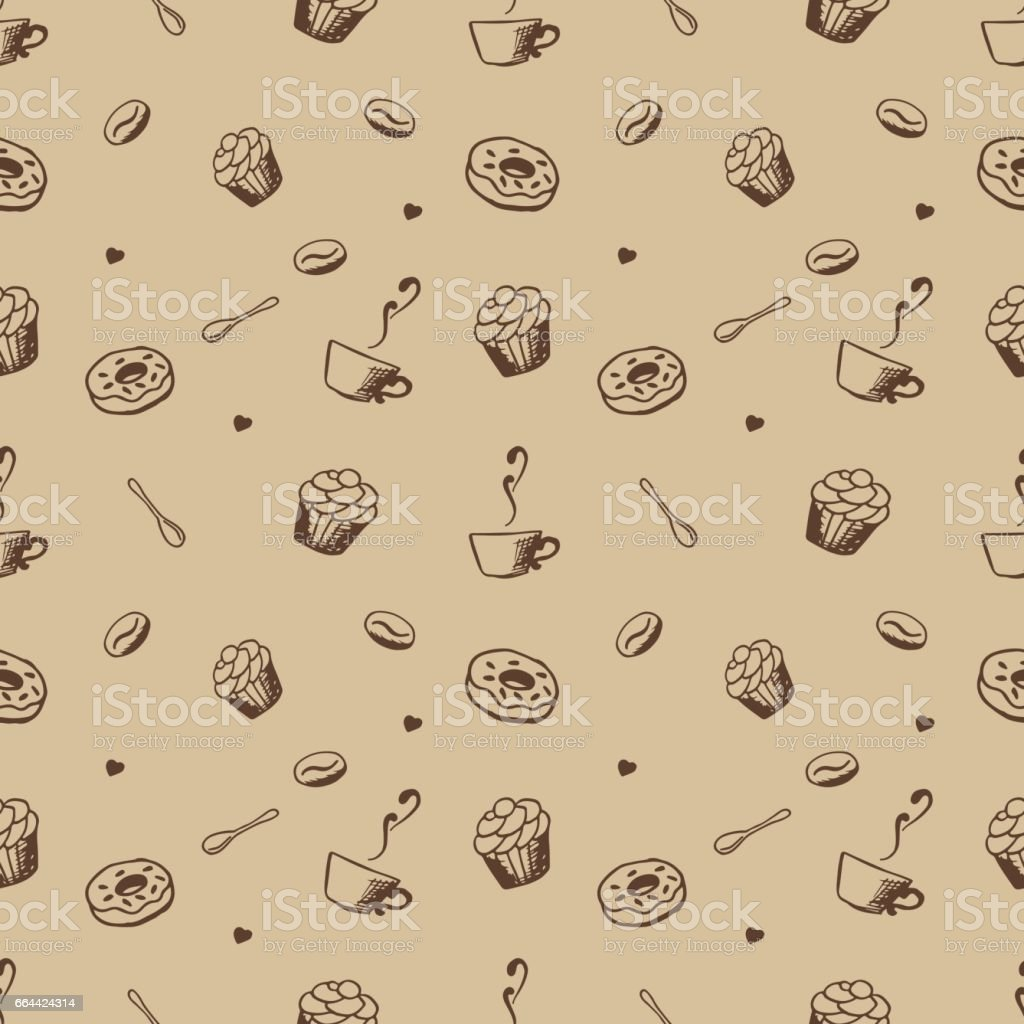 Vector seamles pattern with hand drawn coffee and confectionery vector art illustration
