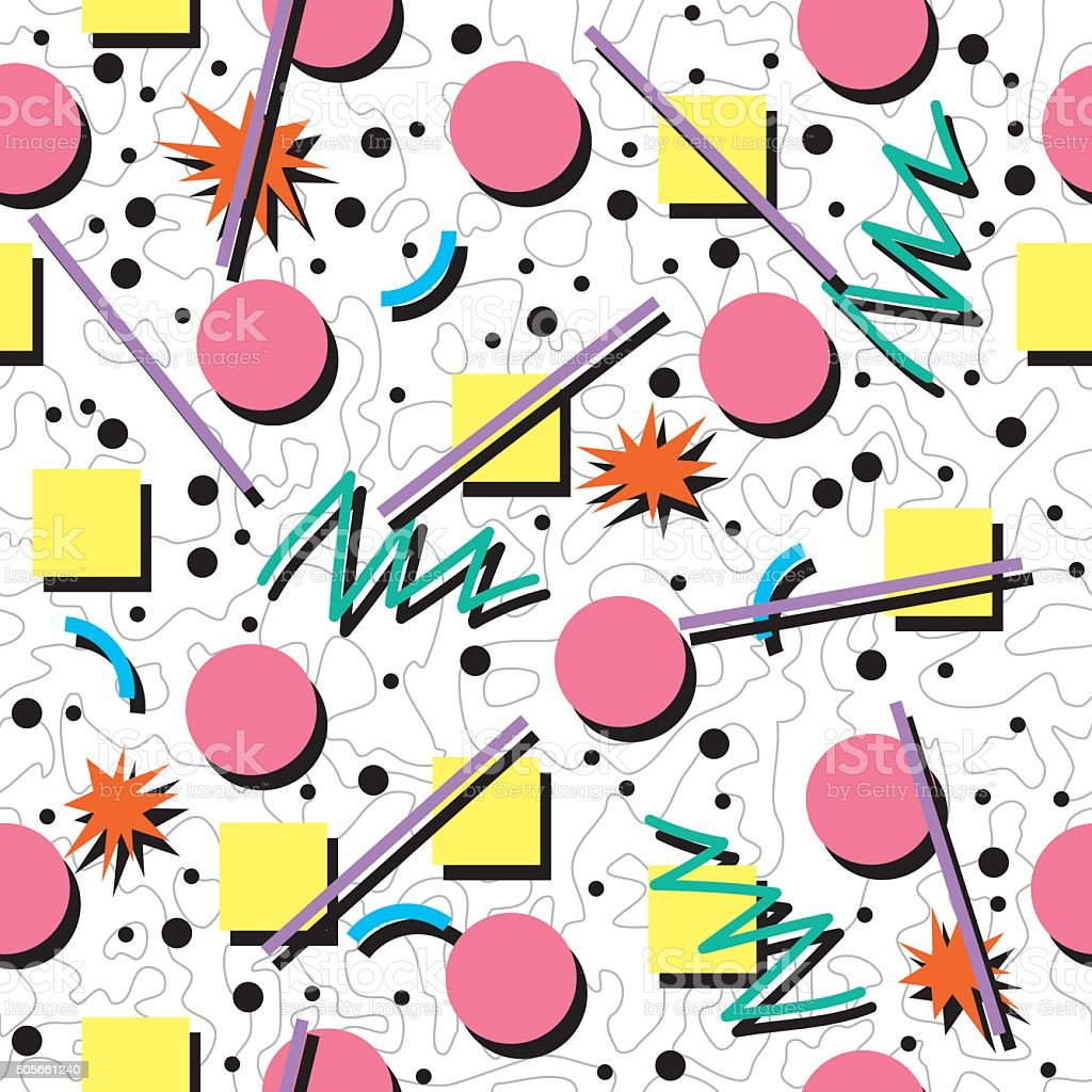 Vector Seamless 80s Or 90s Chaotic Background Pattern ...