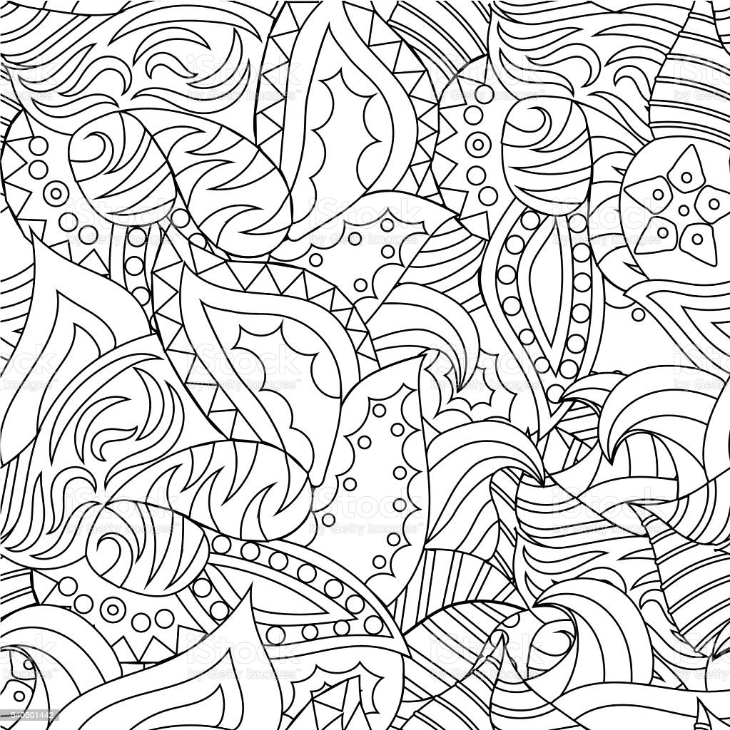 Vector seamless abstract hand drawn pattern with plants vector art illustration