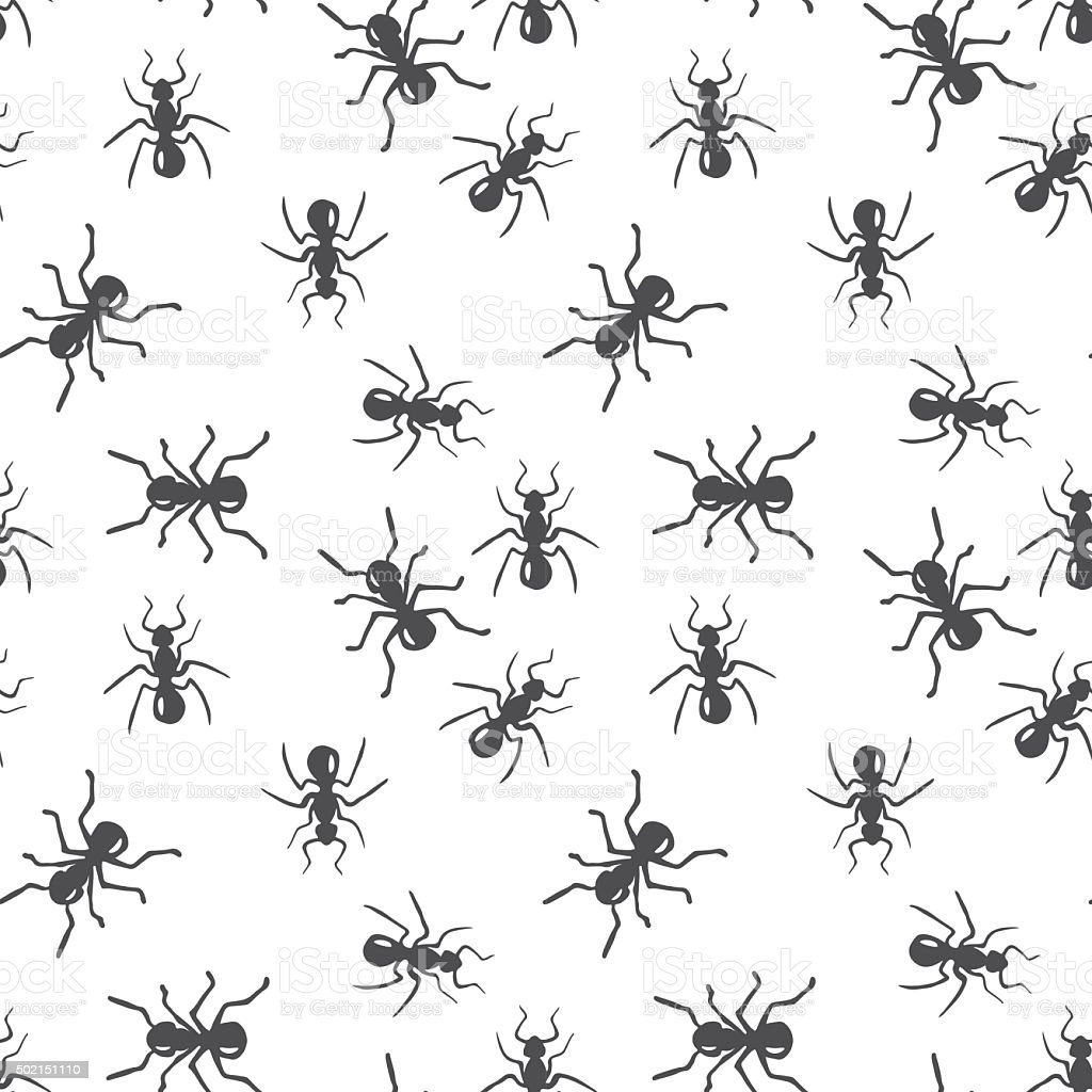 Vector seamless ant colony insect pattern vector art illustration