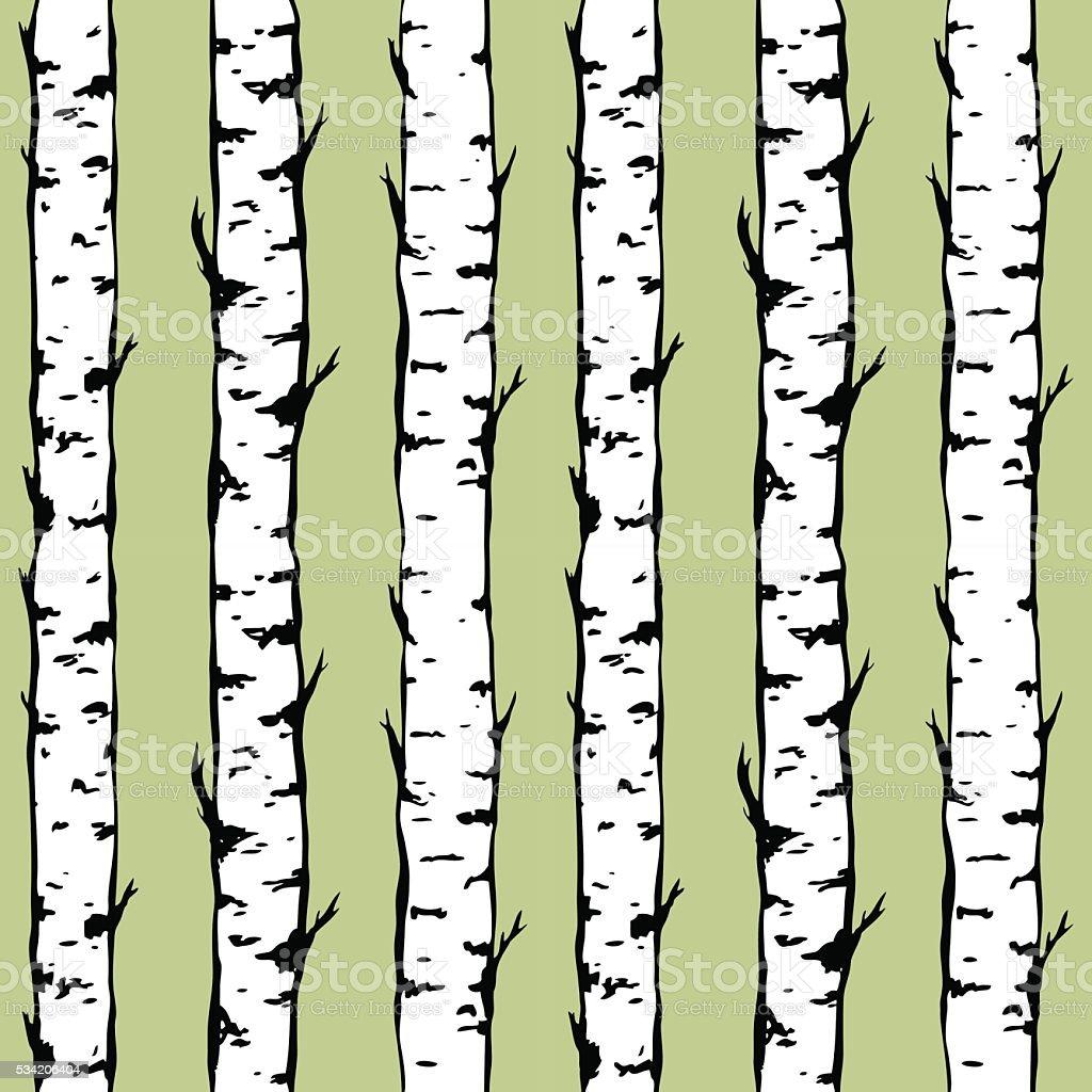 Vector seamless background of birch trunkes. vector art illustration