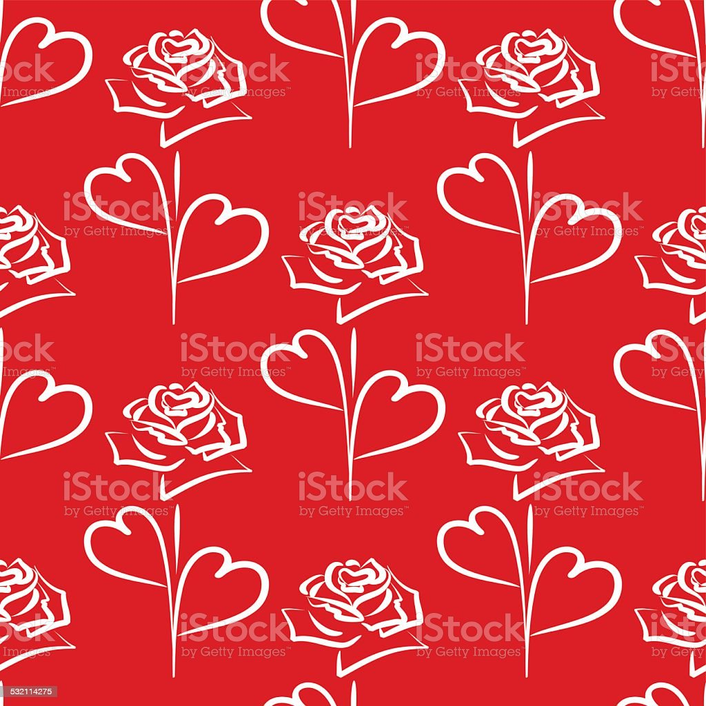 Vector seamless background of white roses and hearts vector art illustration