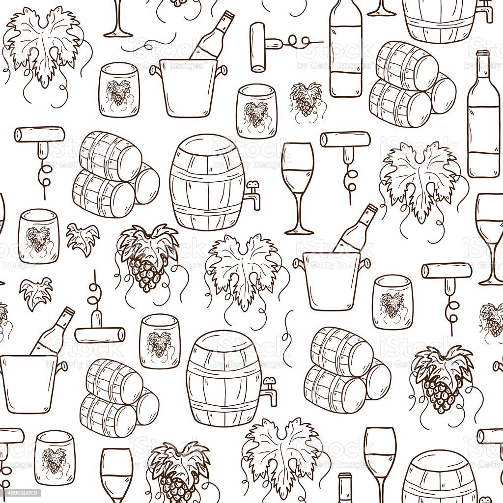 Vector seamless background with cartoon hand drawn wine objects in vector art illustration