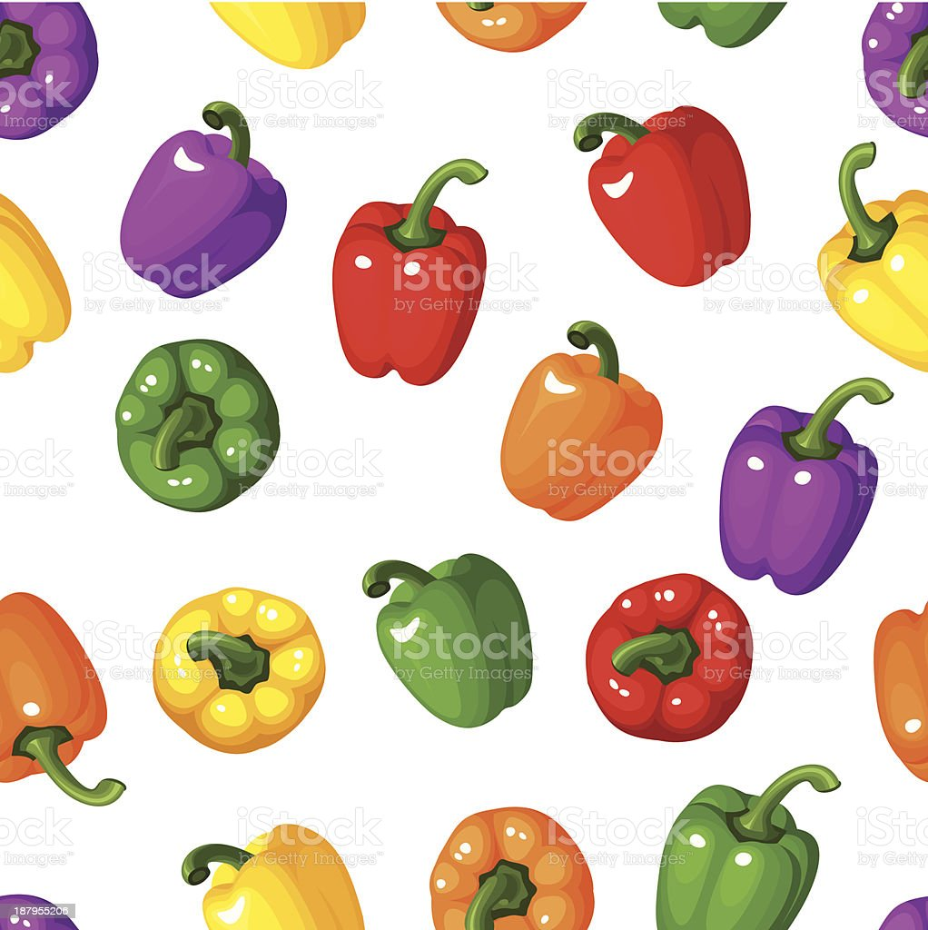 Vector seamless background with colorful bell peppers. royalty-free stock vector art