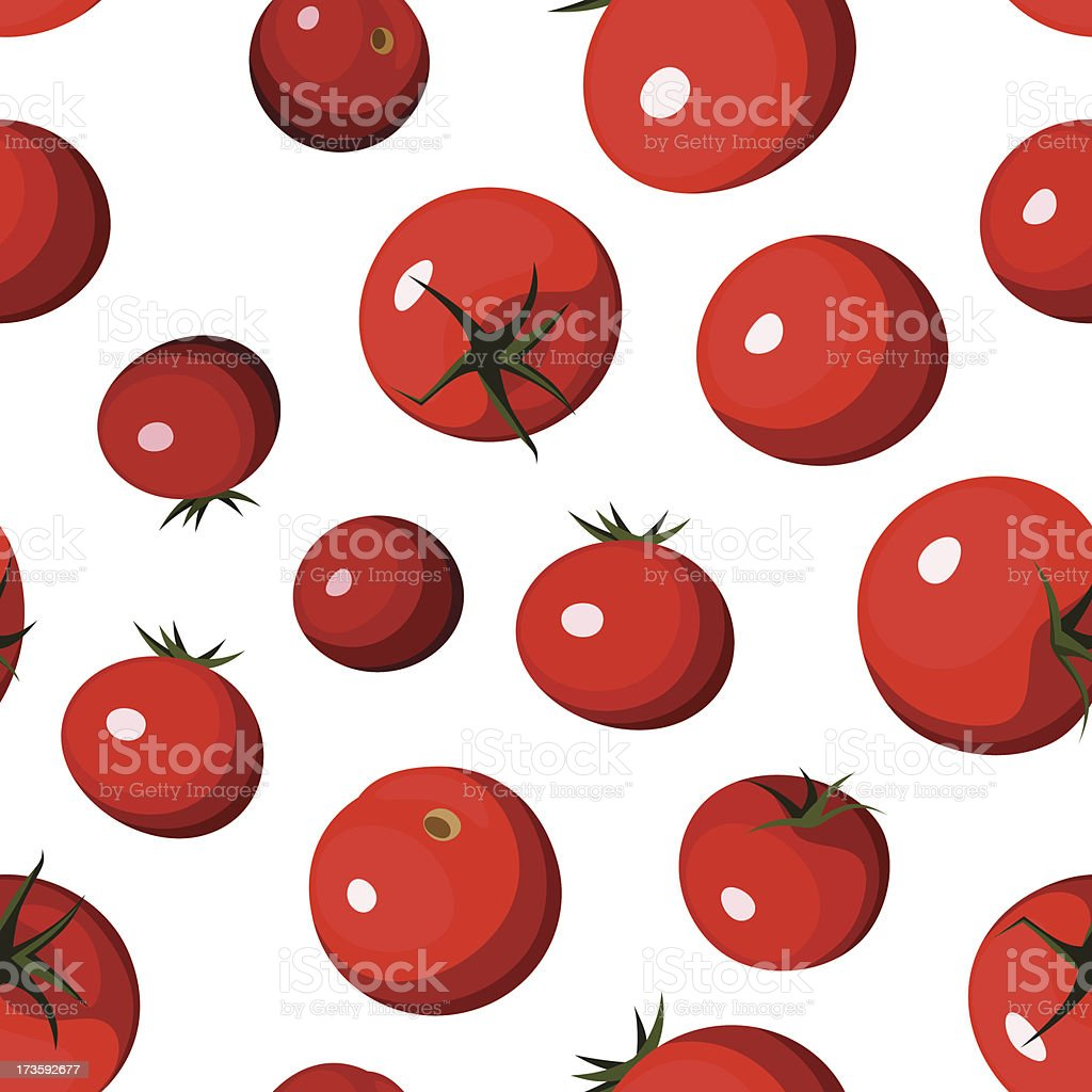 Vector seamless background with red tomatoes on white. royalty-free stock vector art