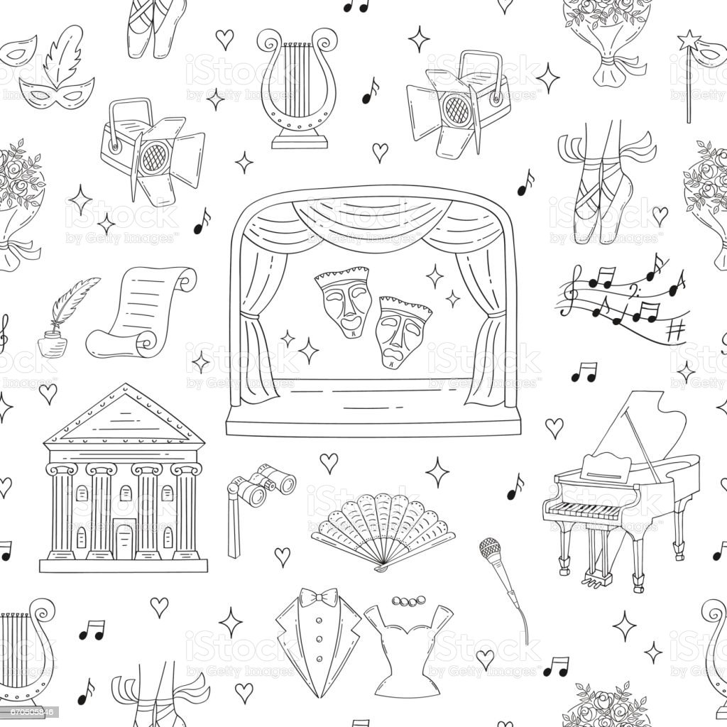 Vector seamless background with theater symbols vector art illustration